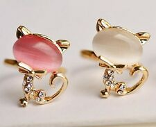 Gold Plated Princess Queen Ring Cat Rhinestone Diamond Rings 1pc