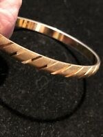 VINTAGE ETCHED BANGLE BRACELET GOLD TONE METAL DESIGNER MONET COSTUME JEWELRY 8""