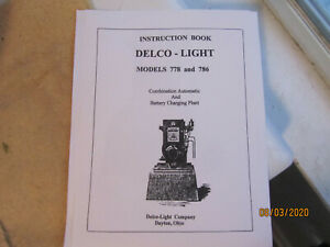 1928 Delco Light Plant Models 778, 786 Gas Engine Instruction Manual