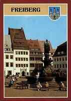 FREIBERG Sachsen DDR Postkarte Ansichtskarte ungelaufen Obermarkt Brunnen-Denkm.