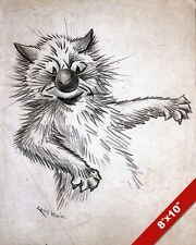CAT PLAYING WITH BALL IN FACE LOUIS WAIN SKETCH PAINTING ART REAL CANVAS PRINT