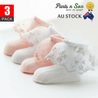 3 Pairs Lace Girls Ruffle Baby Princess Kids Ankle Socks Frilly Infant Girl