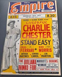 1950 Moss Empire Theatre Sheffield Poster Variety Charlie Chester Arthur Haynes