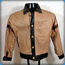 VINTAGE 70s Leather JACKET Mens Size L large Chino/brown