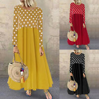 ZANZEA Women Long Sleeve Polka Dot Casual Long Shirt Dress Patchwork Maxi Dress