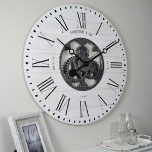 FirsTime Wall Clock Open Back Gear Cut-Outs Costal Style Oversized 27 in. Frame