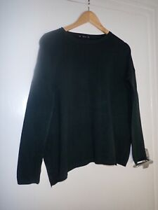 Warehouse Green Fine Knit Jumper Size Small (baggy Style)