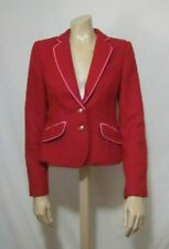 Victoria's Secret Red Tweed Suit Blazer Jacket Size 6 Gold Buttons Pink Outline