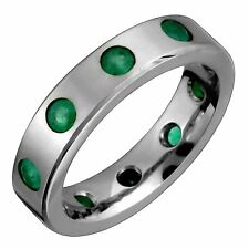 Mens Titanium Ring W Emerald Gemstone Handmade 5mm Wide Wedding Band Size 12.5