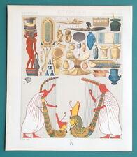 EGYPT Utensils Toilette Vases Grand Harp - COLOR Litho Print A. Racinet