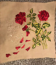 Antique / Vintage Leaf By Leaf The Roses Fall Needlework So Beautiful! 20� x 20�