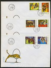 1994 Tiger,Circus,Bike,Cycling monkeys,Dog,Elephant,Clown,Bear,Romania,5026,FDC