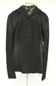Country Road Womens Size 12 Black Jacket Blazer Shine Shimmer Button Up Lined