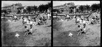 Saint-Raphaël Plage Bord de Mer 6 plaques verre négatif Stéréo 6x13 cm an. 1920