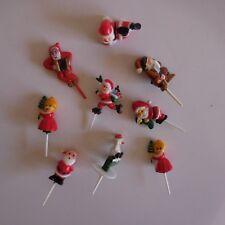 9 figurines mère père Noël pour bûche décoration festivité France N3498