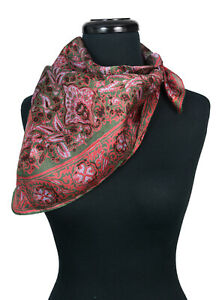 Vintage Hand Woven India Silk Scarf Mauve Green Burgundy Floral/Abstract Square