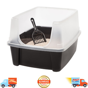 Open-Top Cat Litter Box with Shield and Matching Scoop Enclosed Kitty Pan, Black