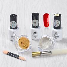 6 un./set Nail Art Espejo Cromo Brillo Polvo Polvo Rojo Esmalte Gel UV con Pincel
