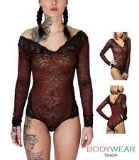 Damen Body Spitzenbody Tribal Tüllbody V-Ausschnitt Lace Bodysuit Schwarz S-XL