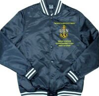 NAVAL STATION GUANTANAMO-CUBA *NAVY* EMBROIDERED 1-SIDED SATIN JACKET