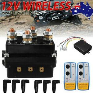12V 500A Contactor Winch Control Solenoid Relay/Twin Wireless Remote & Cover AU