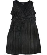 City Chic Womens Striped Wrap Dress, Black, S/16W