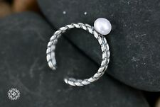 Vintage Style Twisted Wire Braided Adjustable Ring Pearl 925 Sterling Silver