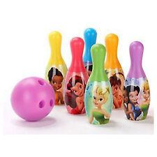 Bowling Set 6 Pins 1 Ball Disney Fairies Tinkerbell Play set Girls Age 2+ New