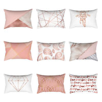 Rose Gold Pink Soft Cushion Cover Square Pillowcase Home Decoration(30cm * 50cm)