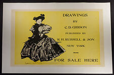 1894 poster Charles Dana Gibson advertisement for his Drawings book linen-backed