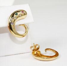 Inusual Pendientes en 585 oro con TURMALINA Y BRILLANTE 0,12ct .w.si