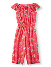 f88ff9229d57 NEW Girls Wonder Nation Coral Floral Knit Gaucho Jumpsuit Plus Size L 10-12