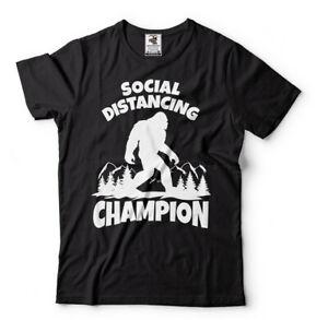 Sasquatch Social Distancing World Champion Bigfoot T-Shirt Funny Quarantine Tee