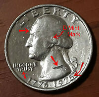 1776-1976/D Washington 25C Error:E PLUPIEUS UN'JIS-D Mint Mark/Read Description