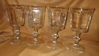 Vintage Anchor Hocking Water Glasses Courtney Clear pattern Footed stems 4 10oz