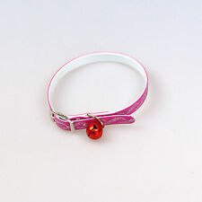 Collar With Bell for Dogs and Cats Plastic Pink Length: 32cm Neu