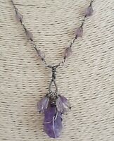 Natural Raw Amethyst Antique 925 Sterling Silver Necklace Artisan Handmade