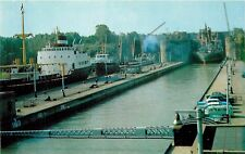 Postcard Twin Flight Locks Thorold Ontario Canada boat ship old cars 1950's