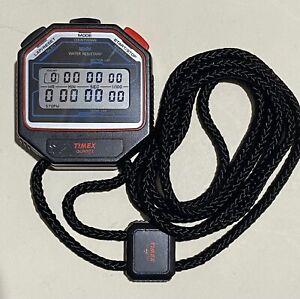 Vintage Timex Stopwatch Chronograph Lap Countdown Water Resistant & Lanyard
