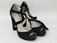 KAREN MILLEN Ladies Black Suede Block Heels Ankle Straps Sandals Size UK7 EU40