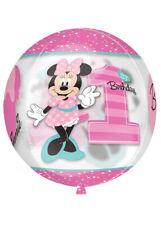 Pink Minnie Mouse 1st Birthday Orbz Helium Balloon