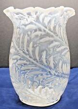 Antique Fern Opalescent On Clear Crystal Celery Vase By Model Flint Glass Co.