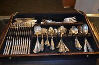 REED & BARTON GEORGIAN ROSE STERLING SILVER FLATWARE SET 109 PIECES SERV FOR 12