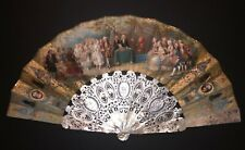 SUPERB ANTIQUE FRENCH CARVED MOTHER OF PEARL HAND PAINTED WEDDING SCENE FAN