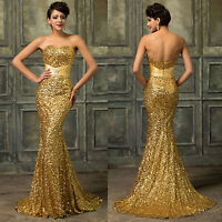 Gold Sequins Mermaid Formal Evening Long Gown Party Prom Ball Bridesmaid Dress 8