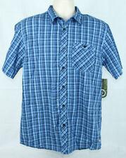 Realtree Mens Button Front Short Sleeve Shirt Size Medium Blue/Black Plaid