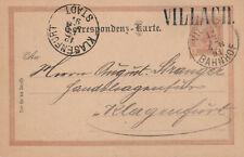 Ausgabe 1890, Ganzsache 12.12.1890 Villach nach Klagenfurt