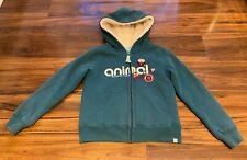 Animal Girls Teal Blue Lexie Zip Hoodie Floral Logo Soft Borg Lined 7-8 years