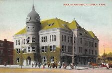 Topeka KS 9:45 AM on Clock Tower Minaret~Rock Island Railroad Depot c1910