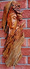 * UNIQUE LADY WOODEN HEAD WALL HANGING HANDMADE FROM CEDAR *